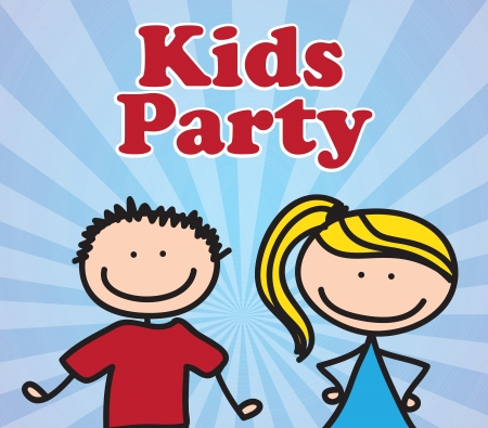 Kids party over blue lines background vector illustration Stock Vector - 17978319