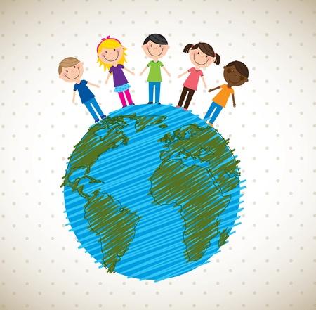Children in the world over white background Stock Vector - 17978919