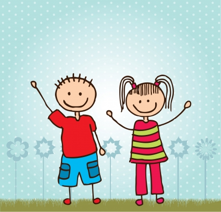 children in class: Happy Children over landscape background vector illustration Illustration