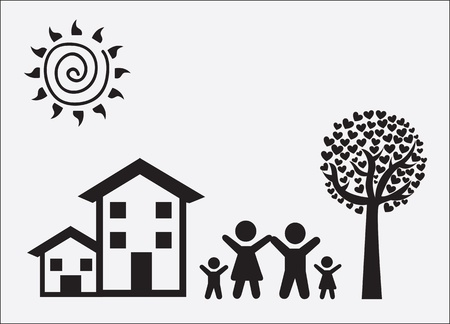 Family and landscape over white background Vector