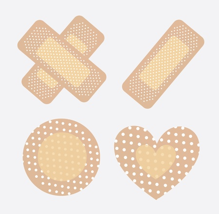 bandages for wounds in different ways over white background Vector