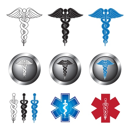 ampule: Medical icons over white background vector illustration