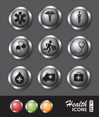 Medical icons over chrome background vector illustration Stock Vector - 17978833