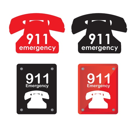Emergency telephone over white background vector illustration Vector