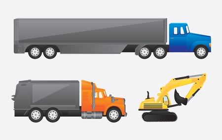 truck, mule and tractor over gray background vector illustration Vector