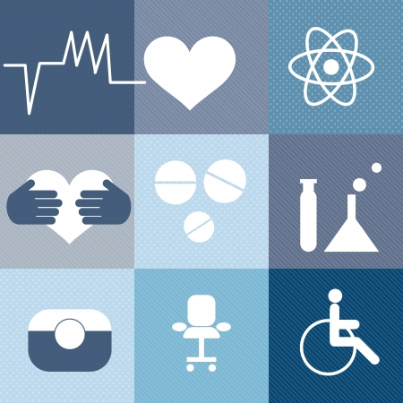 Hospital Icons (9 colletion set). Different shades of blue. Vector Vector