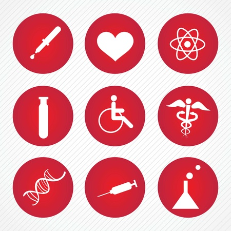 Red Hospital Icons (colletion set) On grey background Stock Vector - 17978103