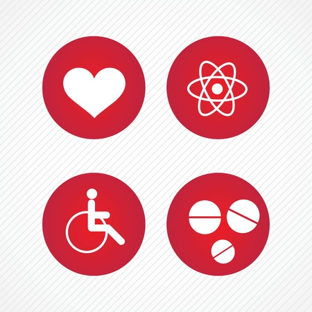 ampule: Red Hospital Icons (colletion set) On grey background