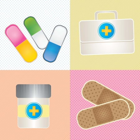 ampule: Hospital Icons (colletion set) On different colors background