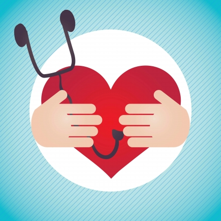 ampule: Healthy Heart, Hospital Icons (with stethoscope,), on blue with hands background Illustration