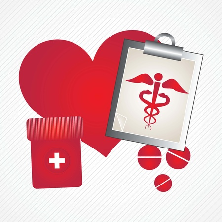 Healthy Heart (concept) , Hospital Icons, on grey background. Stock Vector - 17978169