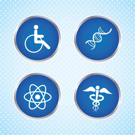 Hospital Icons ble buttons, on Blue background. Vector Illustration Vector