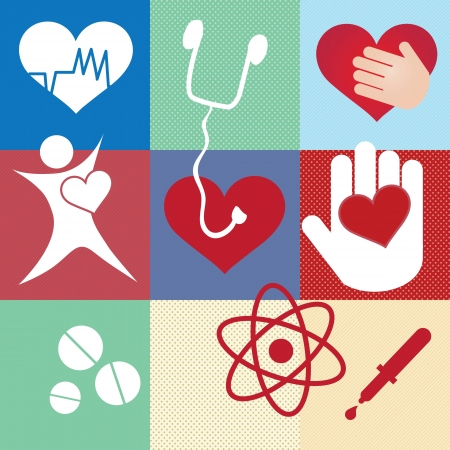 Different, Hospital Icons set. On colorful background Vector
