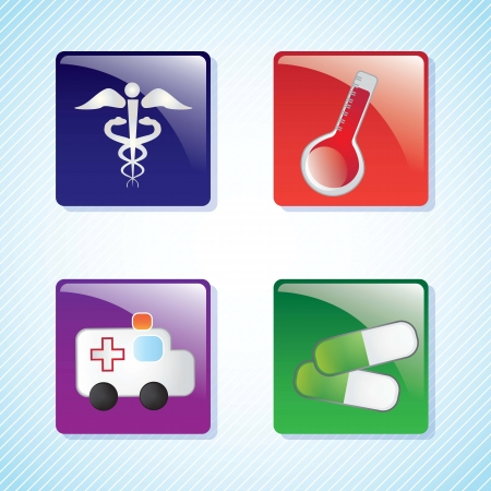 Hospital Icons buttons on blue background. Vector Illustration Stock Vector - 17978573