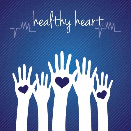 Hospital Icons ( healthy heart) concept with hands, On dark blue background Stock Vector - 17978070