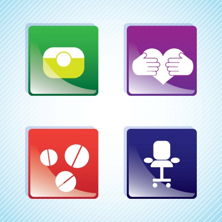 Hospital Icons buttons on blue background. Vector Illustration Vector