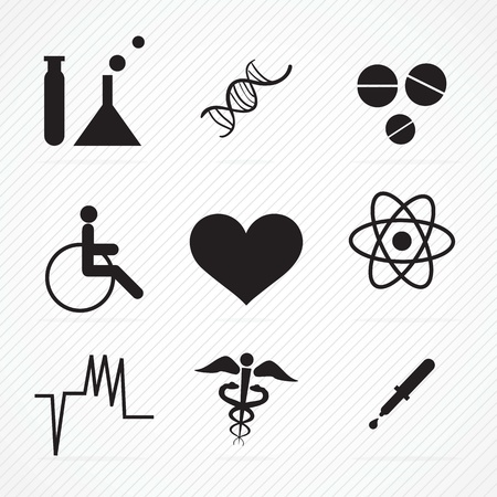 ampule: Black Hospital Icons (colletion set) On grey background Illustration