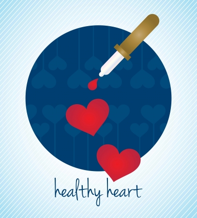 Healthy Heart, Hospital Icons, on blue background Vector