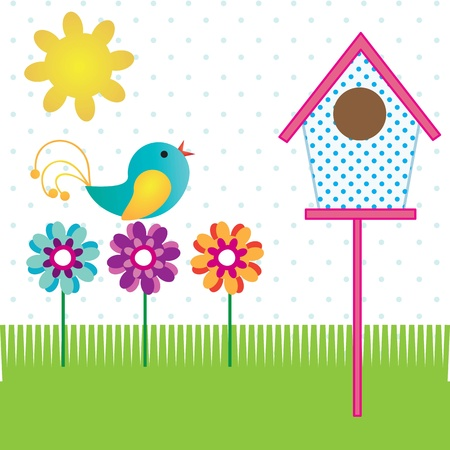 birdhouse: Spring Icons flowers, and bird. On white background