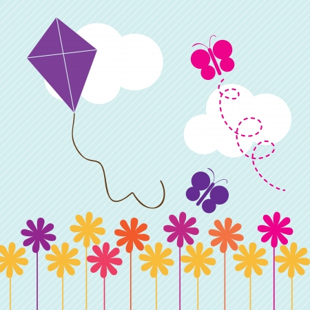 flying kite: Purple Kite flying in the sky of spring. On blue background Illustration
