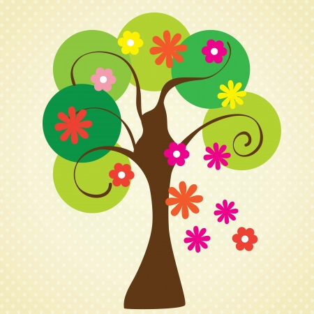 multicoloured: Flowering tree in spring, on vintage background. Vector Illustration Illustration