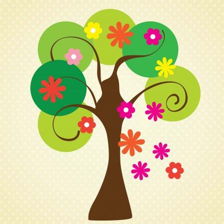 virágzó: Virágzó fa tavasszal, évjárat háttérben. Vektor illusztráció