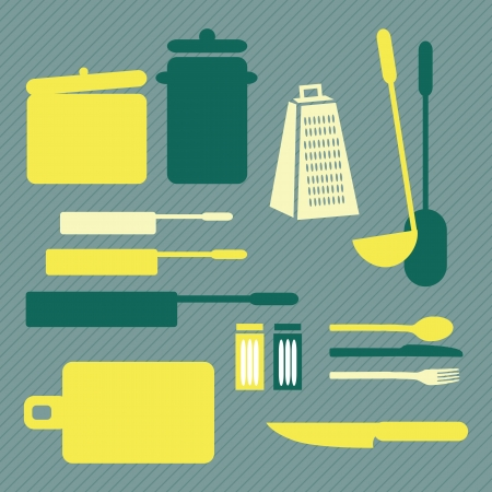 Different Kitchen Icons, retro colors. Vector Illustration