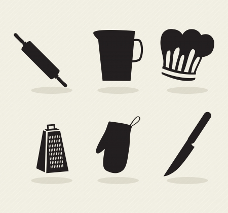 chef knife: Kitchen Icons (black silhouettes). On grey background Illustration