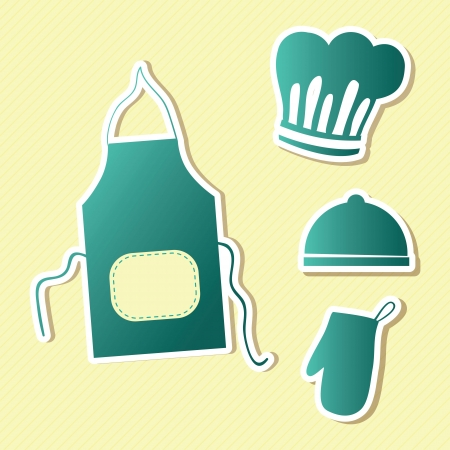 mitts: Kitchen Icons (apron, hat, mitts). Vector illustration