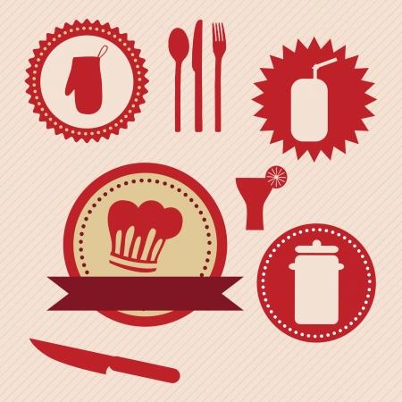 Kitchen Icons Labels, retro colors. Vector Illustration Vector