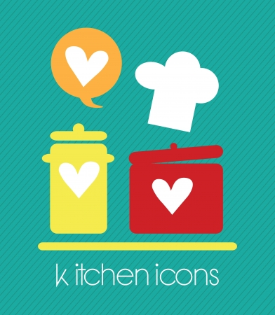 Kitchen Icons (Love Cook) concept. On green Background Vector