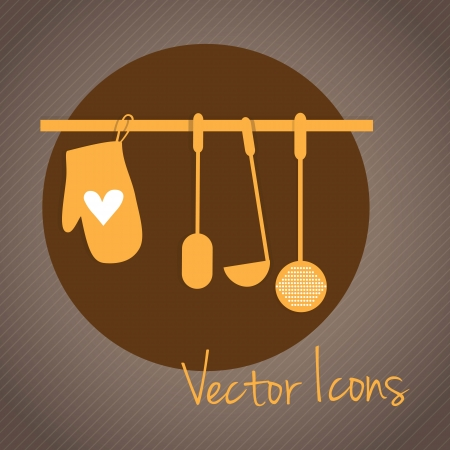 Kitchen Icons tools, retro colors. Vector illustration Vector