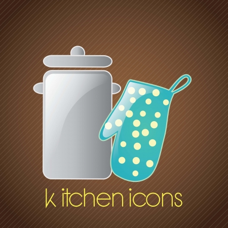 mitt: Kitchen Icons silver pot, and mitt. On brown background Illustration