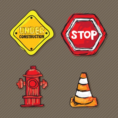 trafic stop: Construction Icons ( trafic sign, traffic cones, road sign, hydrant). Vector illustration