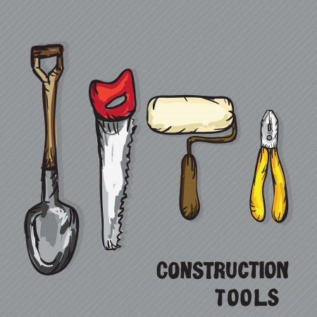 Construction Icons ( shovel, roller, hacksaw, pliers). Vector Illustration Stock Vector - 17978428
