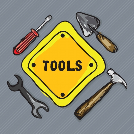 Construction Icons Tools, ( screwdriver, wrench, spatula,  hammer). Vector Illustration Stock Vector - 17978139
