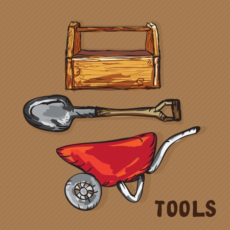 Construction Icons (Wheelbarrow, shovel, toolbox ). Vector Illustration Vector