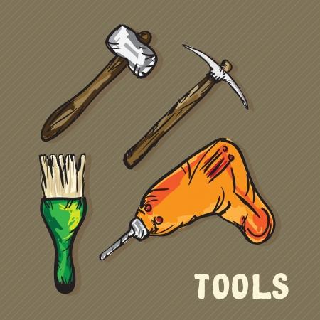 Construction Icons ( brush,  pickaxe, chisel, drill). Vector Illustration Stock Vector - 17978337