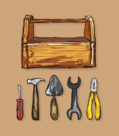 spatula: Construction Icons Toolbox, ( screwdriver, wrench, spatula,  hammer, pliers). Vector Illustration Illustration