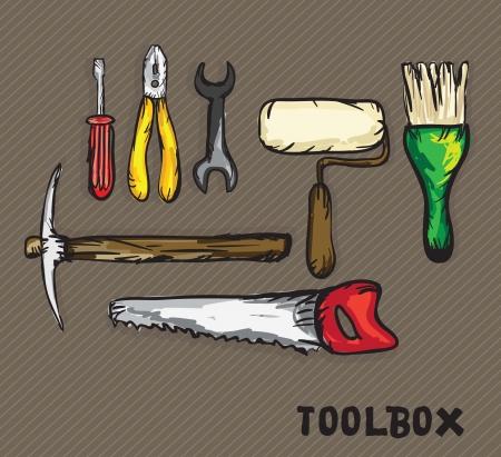 seghetto: Icone di costruzione (cacciavite, chiave inglese, pennello, rullo, seghetto, piccone, pinze). Illustrazione vettoriale