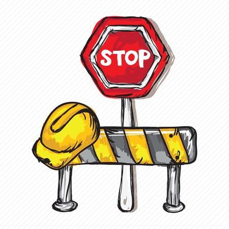 hard cap: Construction Icons (Hard cap, Stop traffic sign, Vector illustration