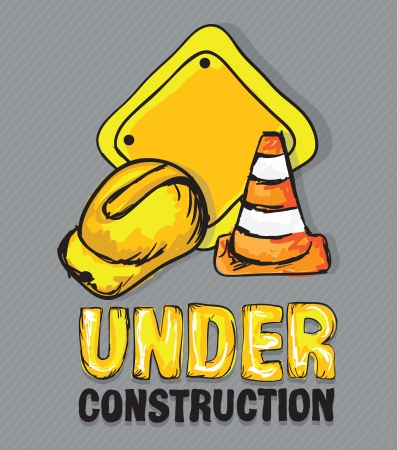 Construction Icons (Hard cap, traffic cones), Vector illustration Vector