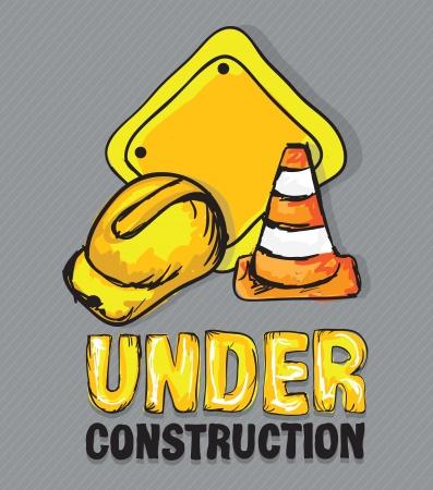 hard cap: Construction Icons (Hard cap, traffic cones), Vector illustration Illustration