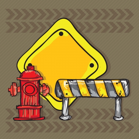 Construction Icons ( traffic cones, road sign, hydrant). Vector illustration Vector