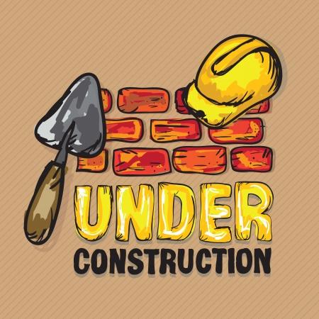 hard cap: Construction Icons (Hard cap, spatula and bricks), Vector illustration