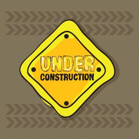 constrution: Under constrution Icons, on brown background. Vector illustration