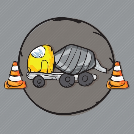Construction Icons Truks ( Concrete Mixer Truck). Vector illustration Vector