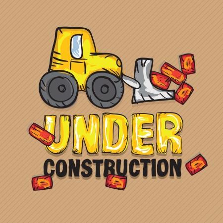 Construction Icons Truks ( Under construction Backhoe loader). Vector illustration Stock Vector - 17978594