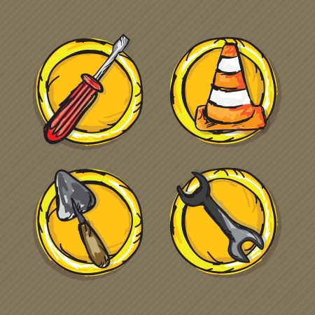 Construction Icons (screwdriver, traffic cone, wrench, spatula). Vector illustration Stock Vector - 17978561