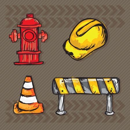 hard cap: Construction Icons ( Hard cap, traffic cones, road sign, hydrant). Vector illustration